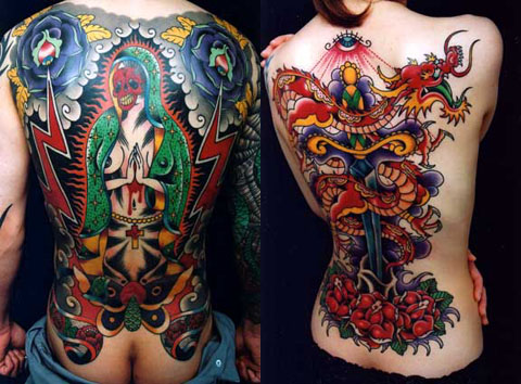 Tattoos on humans are a type of decorative body modification, while tattoos
