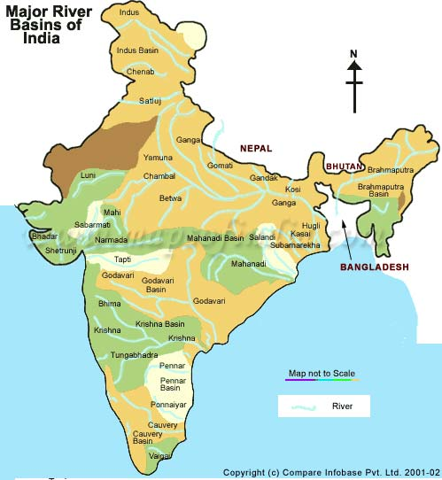 India Rivers River Map Of India